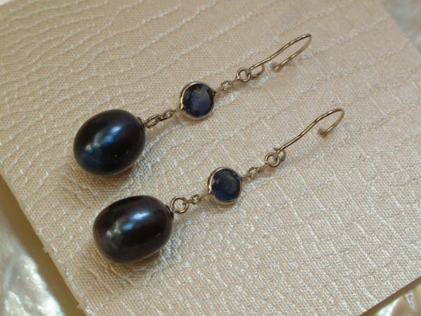 Saphir & Perlen Ohrringe - 1,00 ct. - 10 x 7,5 mm - 14 Kt. Weißgold 585 - Hänger