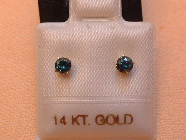 Exclusive Brillant Ohrstecker - blaue Diamanten - 0,32 ct - 14 Kt. Gold - 585 -