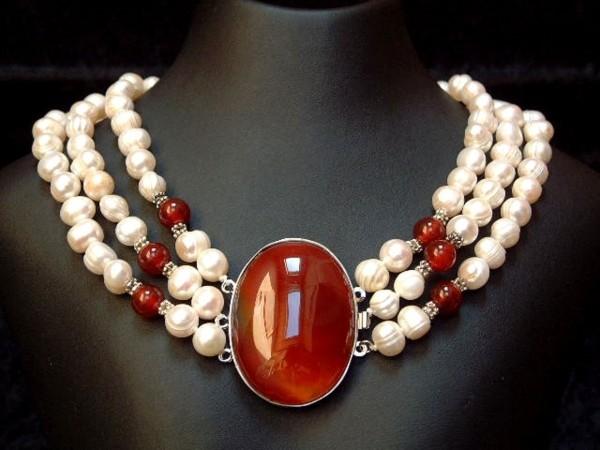 Perlencollier mit feinstem Karneol - 3 Stränge - 45 cm - Perlen - Kette - Collier-