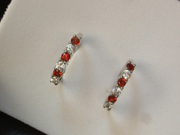Granat & Zirkonia Creolen - Sterling Silber - 925 - Ohrringe - Brillant Schliff