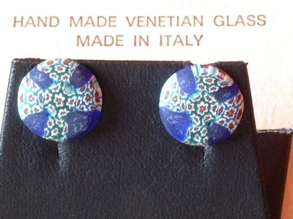 Venezianische Millefiori Ohrstecker - Murano Glas Ohrringe - Biancardi Venezia - Modell BMO5 -