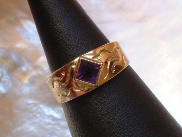 Feiner & zarter Amethyst Ring - 5 x 5 mm - 8 Kt. Gold - 333 - second hand - 57