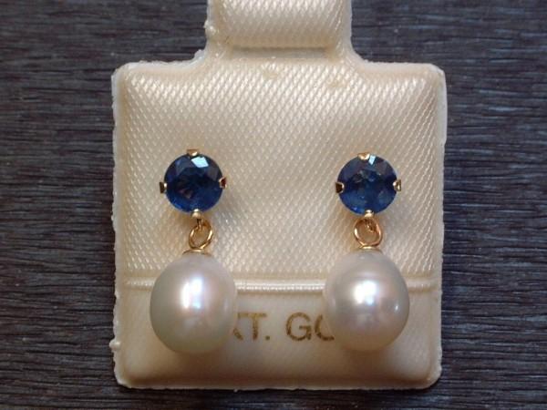 Exclusive Saphir & Perlen Ohrstecker - 14 Kt. Gold - 585 - Ohrringe - sehr edel !