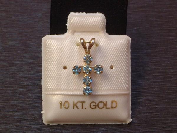 Feinstes Blautopas Kreuz - mit intensiver Farbe - in 10 Kt. Gold - 417 - Brillant Schliff - EDEL