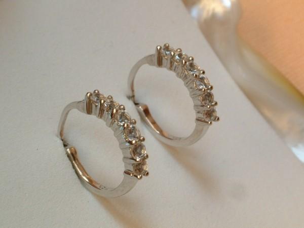 Feinste Weißtopas Creolen - in Sterling Silber - 925 - Ohrringe Brillant Schliff
