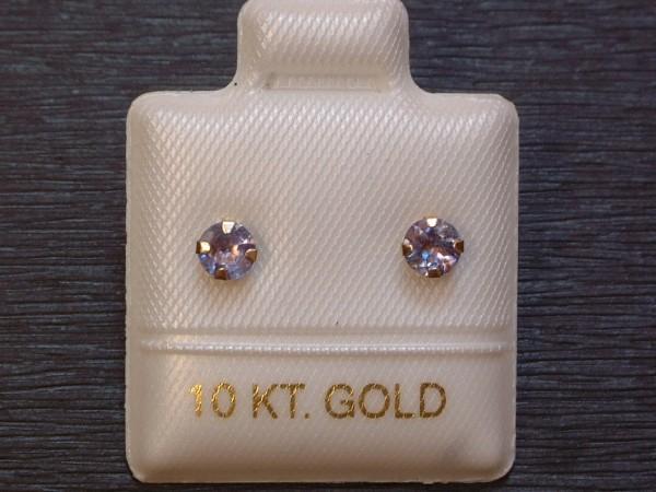 Feinste Tansanit Ohrstecker - zart - 3,7 mm - 10 Kt. Weißgold 417 - Brillant Cut