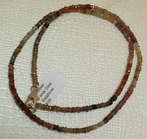 Exclusive Saphir Kette - Fancy Multicolor - 40 ct. - Sterling Silber 925 - 42 cm