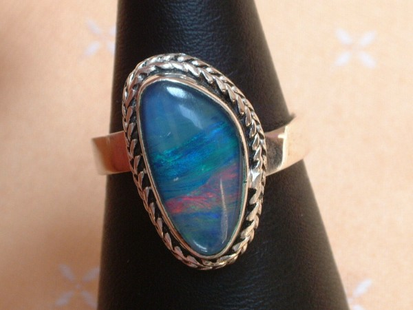 Exclusiver Opal Ring 20 x 13 mm - tolle Farben - Sterling Silber 925 - variabel