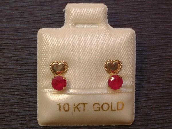 Feinste Herz Ohrstecker - Rubine - 0,70 ct. - 10 Kt. Gold 417 - Brillant Schliff
