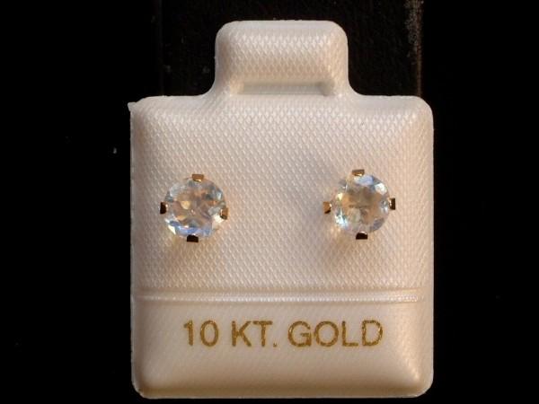 Feinste Mondstein Ohrstecker - 5 mm - 10 Kt. Gold - 417 - Ohrringe - Brillant Schliff