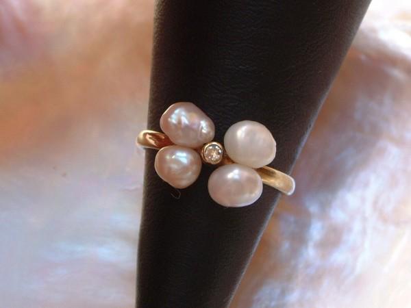 Exclusiver Süßwasser Perlen & Brillant Ring - 14 Kt. Gold - 585 - second hand - Gr. 52 - EDEL!