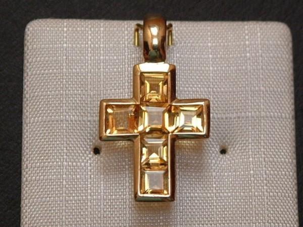 Exclusives Designer Kreuz - Citrin - 14 Kt. Gold - 585 - Carré Schliff - TOP Anhänger !