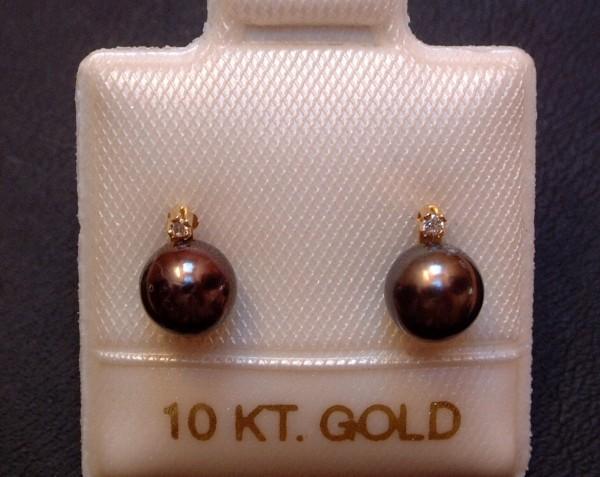 Exclusive Perlen & Diamant Ohrstecker - antrazith - 5,5 mm - 10 Kt. Gold - 417 -