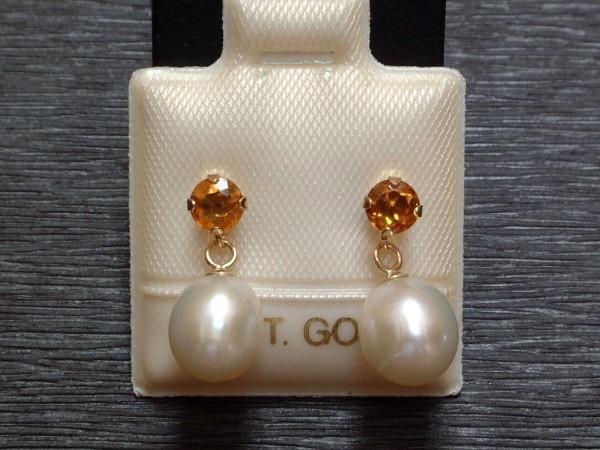 Exclusive Citrin & Perlen Ohrstecker - cognac - 14 Kt. Gold - 585 - Ohrringe - sehr edel !