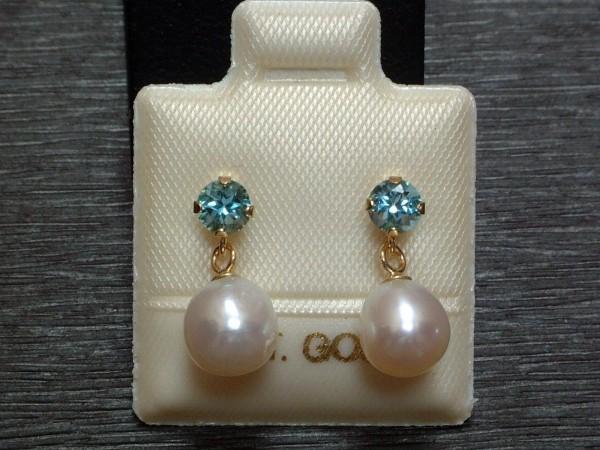 Exclusive Blautopas & Perlen Ohrstecker - 14 Kt. Gold - 585 - Ohrringe - sehr edel !