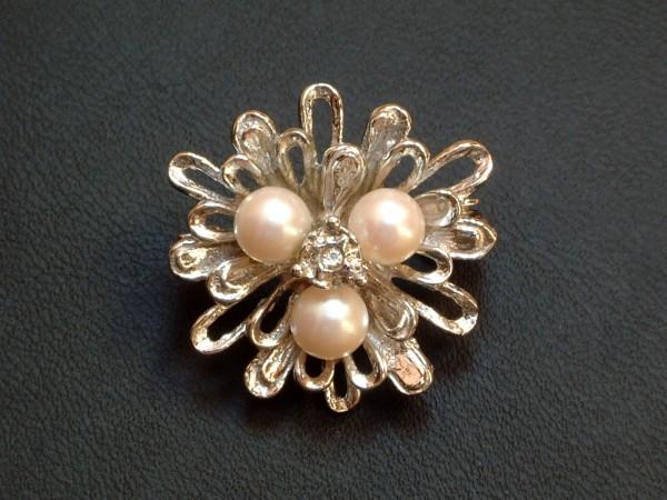 Exclusiver - Perlenketten Clip - mit Zirkonia & Perlen - Silber 835 - 70er Jahre