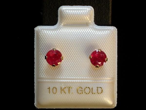Exclusive Rubin Ohrstecker - 5 mm - 10 Kt. Gold - 417 - Ohrringe - Brillant Schliff