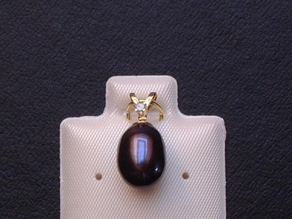 Exclusive Perle mit Diamant - antrazith - gefasst in 14 Kt. Gold - 585 - Anhänger