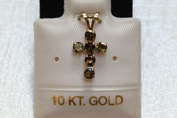 Feinstes Turmalin Kreuz - 0,45 ct. - 10 Kt. Gold - 417 - Anhänger - Brillant Schliff