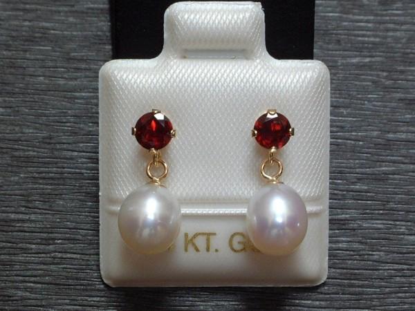 Exclusive Granat & Perlen Ohrstecker - 14 Kt. Gold - 585 - Ohrringe - sehr edel !
