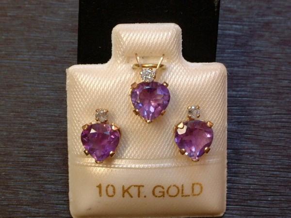 Amethyst & Brillant Schmuckset - 10 Kt. Gold - 417 - Herzschliff mit Krone - TOP