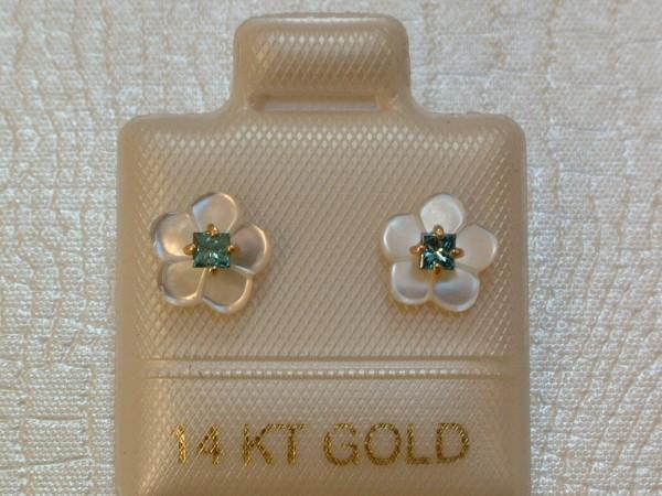 TOP Blaue Diamant - Blüten - Ohrstecker - 0,12 ct - 14 Kt Gold - 585 - Carré Schliff