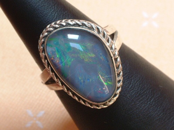 Exclusiver Opal Ring - 23 x 16 mm - tolle Farben - Sterling Silber - 925 - Gr 61