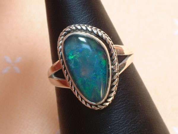 Exclusiver Opal Ring - 19 x 12 mm - tolle Farben - Sterling Silber - 925 - Gr 57