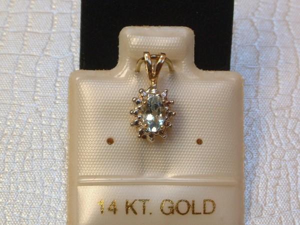 Exclusiver klassischer Anhänger - Aquamarin & Diamant - 14 Kt. Gold - 585 - TOP