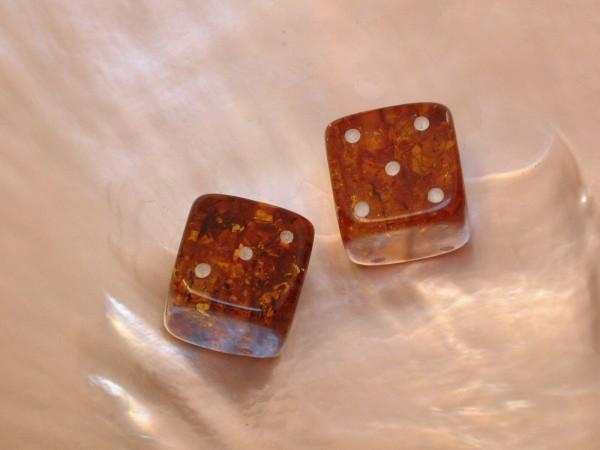 2 Bernstein Würfel - Backgammon - Tavla - Gesellschafts-Spiele - 14 x 14 mm - 30 ct.