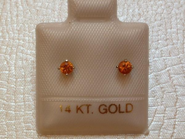 Feinste Saphir Ohrstecker - orange - 3 mm - 14 Kt. Weißgold - 585 - Brillant Schliff