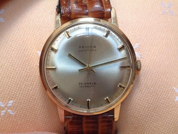 PRIOSA Herren Armbanduhr - automatic - 25 Jewels - incabloc - 14 Kt. Gold 585 - second hand