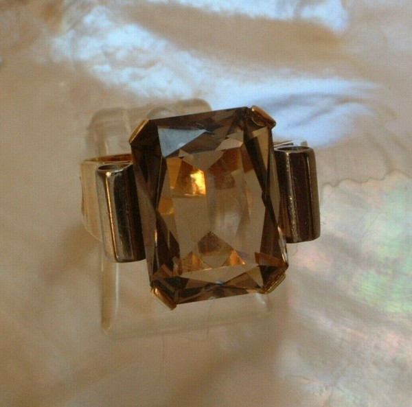 Exclusiver Rauchtopas Ring - 14 Kt. Gold - 585 - second hand - 60 - Oktagon Cut