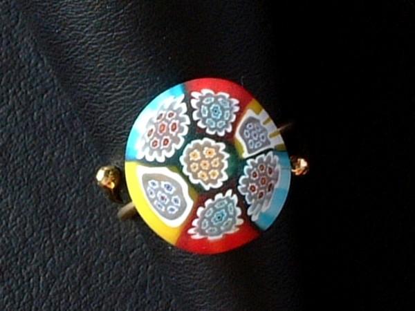 Venezianischer Millefiori Ring - Murano Glas - Sterling Silber 925 vg. - MOD 08 -