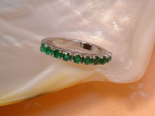 Exclusiver Memoire - Smaragd - Ring - 14. Kt. Weißgold - 585 - Memory - 51 - second hand - TOP