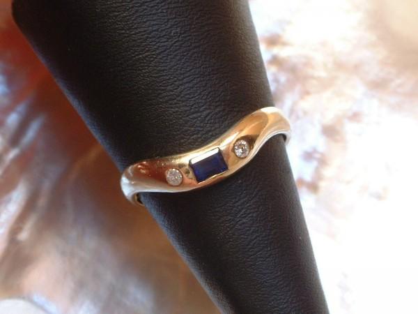 Exclusiver Ring - mit Saphir & Brillanten - 14 Kt. Gold - 585 - second hand - Gr. 59 - TOP