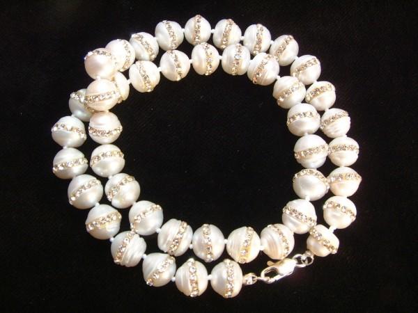 Exclusive Perlenkette - 10,5 mm - 45 cm - Sterlingsilber - 925 - mit Strassbesatz !