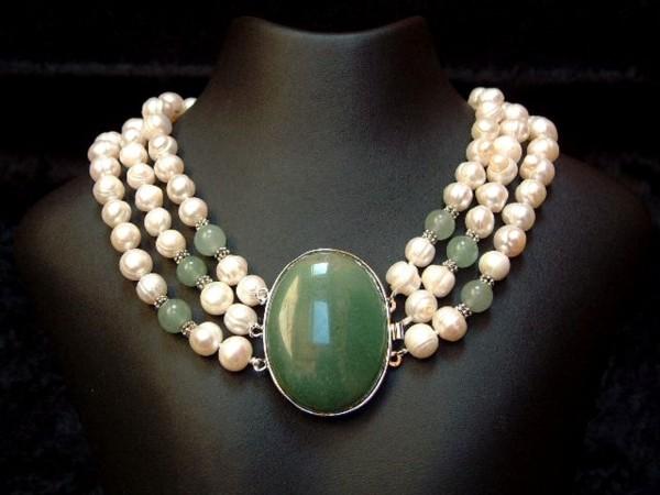 Perlencollier mit feinstem Aventurin - 3 Stränge - 45 cm - Perlen - Kette - Collier-