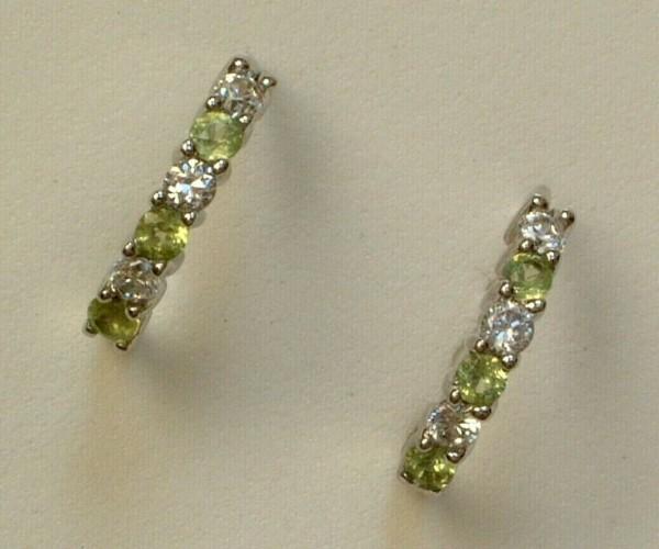 Peridot & Zirkonia Creolen - Sterling Silber - 925 - Ohrringe - Brillant Schliff