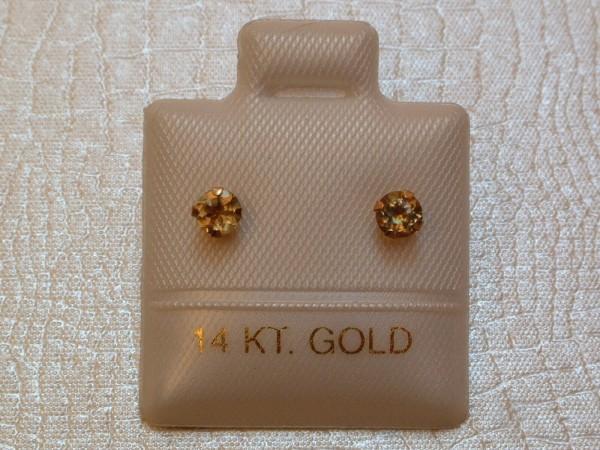 Edle Turmalin Ohrstecker - oliv - 0,36 ct. - 14 Kt. Gold - 585 - Brillant Schliff