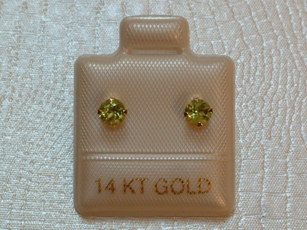 Exclusive Peridot Ohrstecker - 4 mm - 14 Kt Gold - 585 - Ohrringe - Brillant Cut