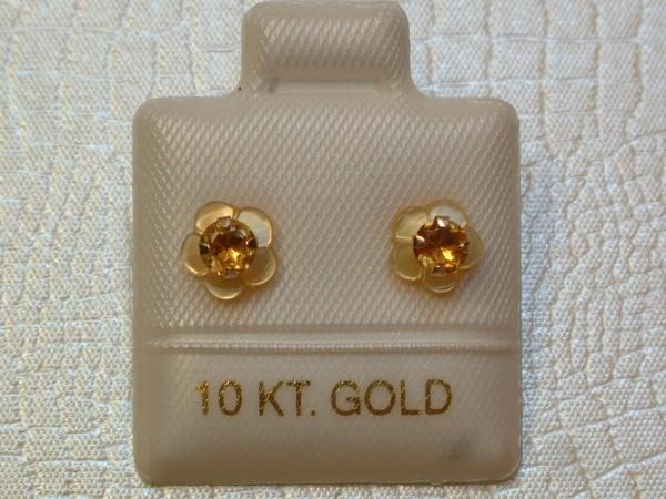 Citrin Blüten Ohrstecker - 0,30 ct.- 14 Kt. Gold - 417 - Ohrringe - Brillant Schliff