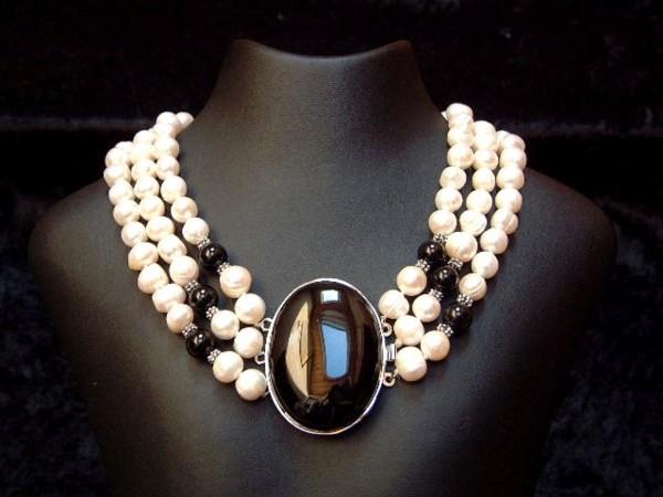 Perlencollier mit feinstem Onyx - 3 Stränge - 45 cm - Perlen - Kette - Collier