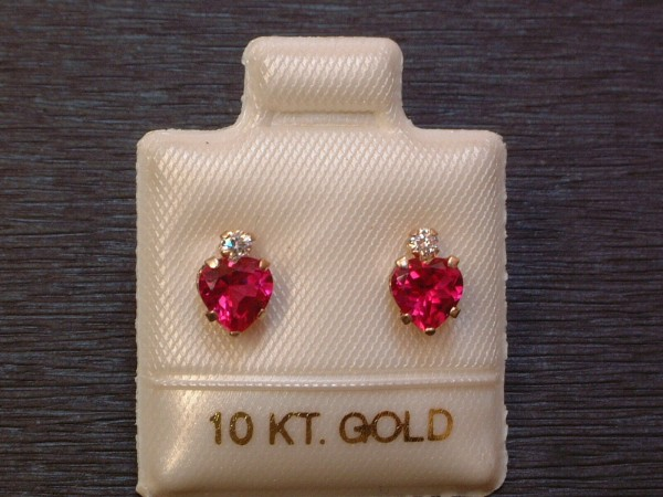 Created Rubin Ohrstecker - Herz Schliff mit Krone - 10 Kt Gold - 417 - Ohrringe