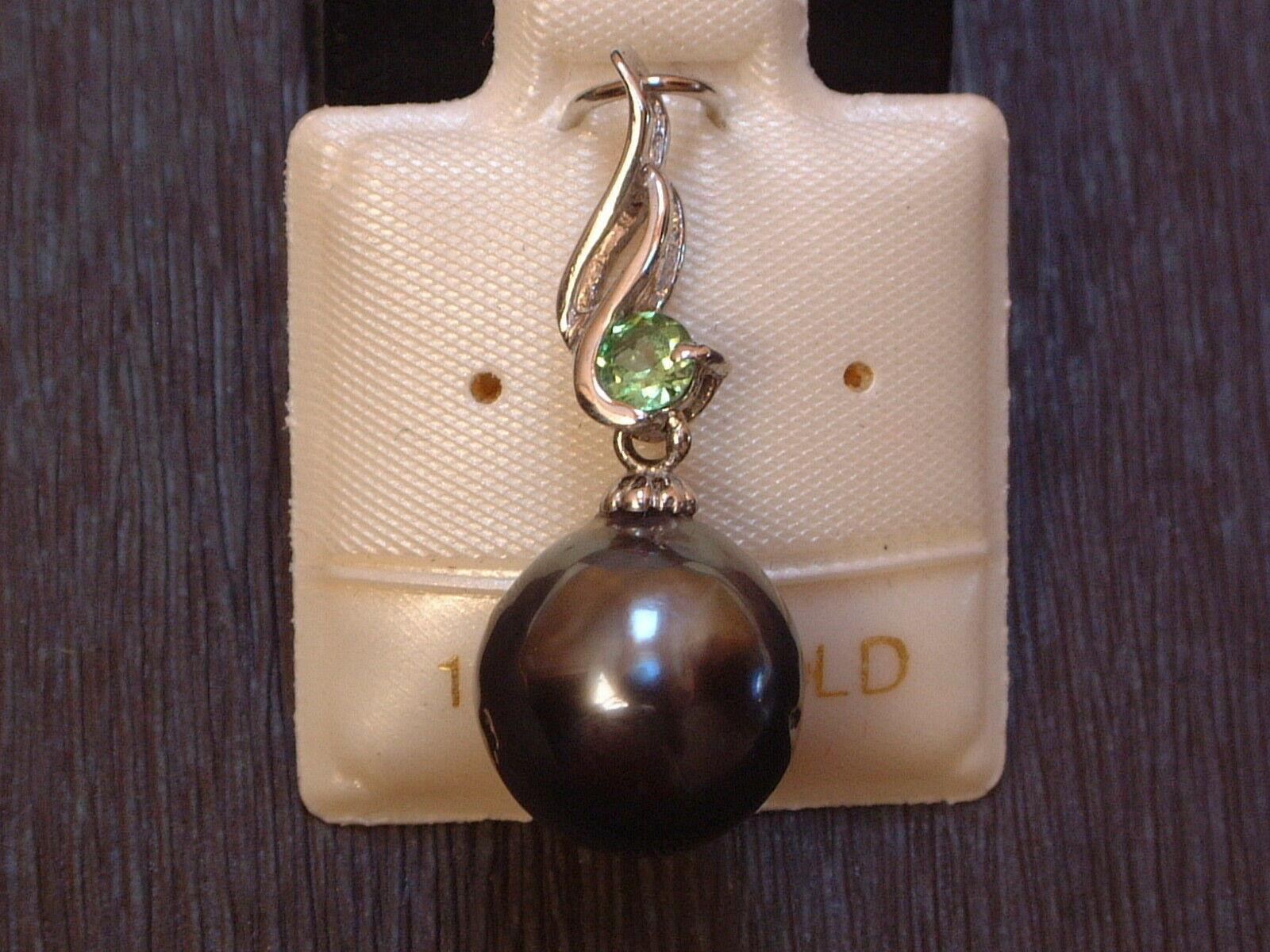 Exclusive Perle mit Diamant antrazith gefasst in 14 Kt Gold -585- Anhänger