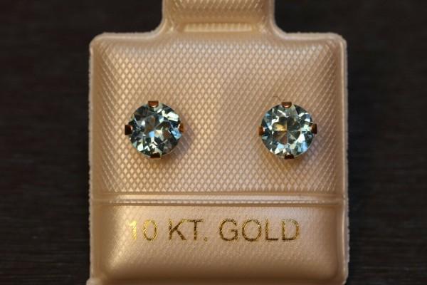 Exclusive Blautopas Ohrstecker - 5 mm - 10 Kt Gold - 417 - Ohrringe Brillant Schliff