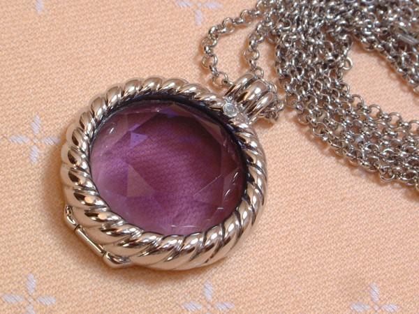 Amethyst & Diamant - Anhänger & Kette - 89 cm - Wechselfassung - Sterling Silber - 925 -