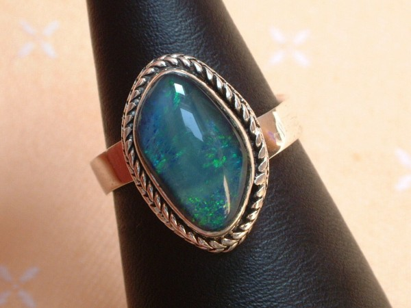 Exclusiver Opal Ring 18 x 13 mm - tolle Farben - Sterling Silber 925 - variabel