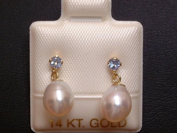 Exclusive Tansanit & Perlen Ohrstecker - 14 Kt. Gold - 585 - Ohrringe - sehr edel !