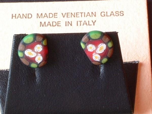 Venezianische Millefiori Ohrstecker - Murano Glas Ohrringe - Biancardi Venezia - Modell BMO7 -